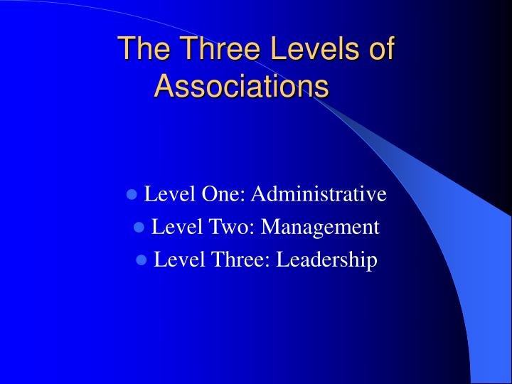 The Three Levels of Associations