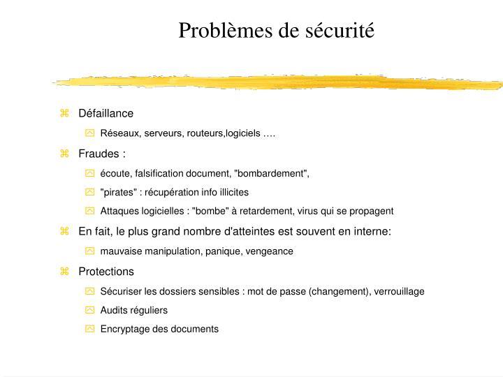 Problèmes de sécurité