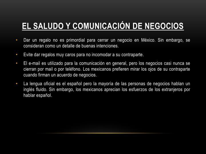 EL SALUDO Y COMUNICACIÓN DE NEGOCIOS
