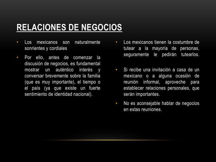 RELACIONES DE NEGOCIOS