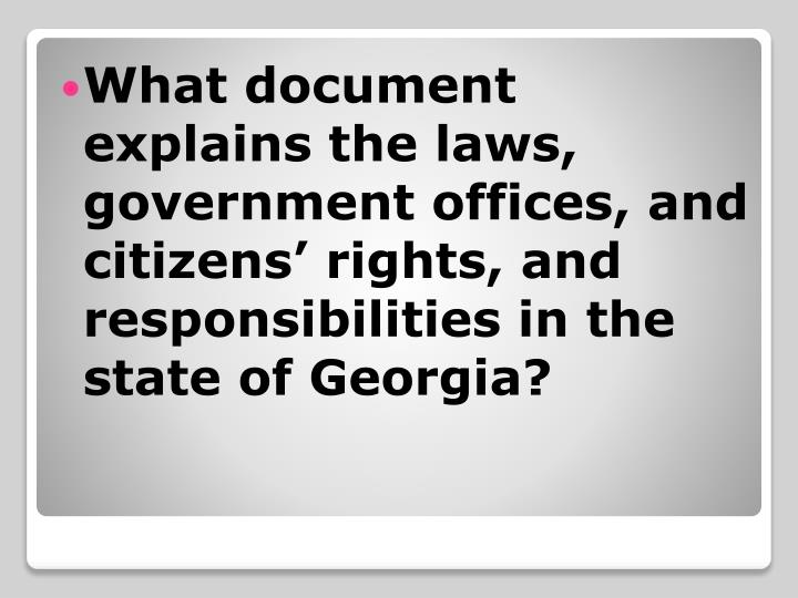 What document explains the laws, government offices, and citizens' rights, and responsibilities in...