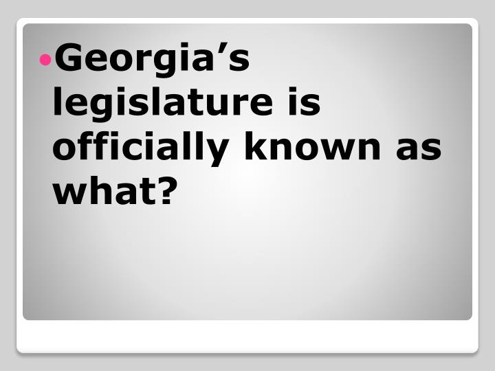 Georgia's legislature is officially known as what?