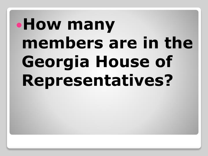 How many members are in the Georgia House of Representatives?