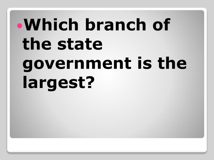 Which branch of the state government is the largest?