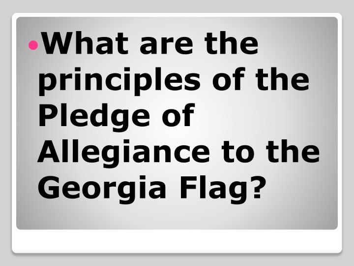 What are the principles of the Pledge of Allegiance to the Georgia Flag?