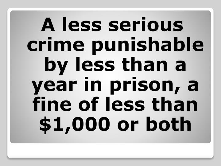 A less serious crime punishable by less than a year in prison, a fine of less than  $1,000 or both