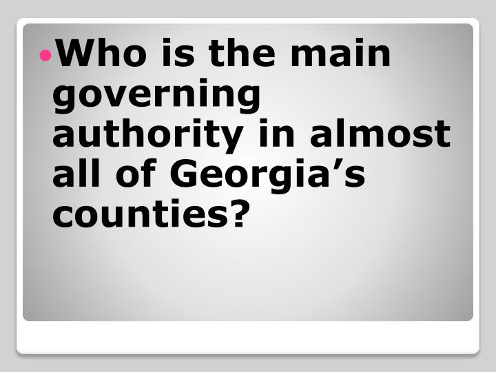 Who is the main governing authority in almost all of Georgia's counties?