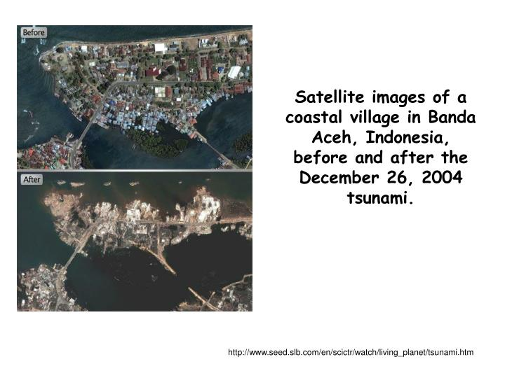 Satellite images of a coastal village in Banda Aceh, Indonesia, before and after the December 26, 2004 tsunami.