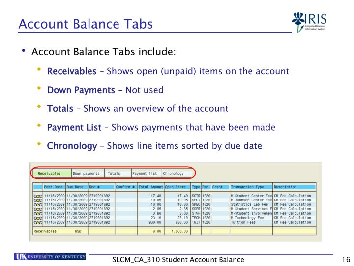 Account Balance Tabs