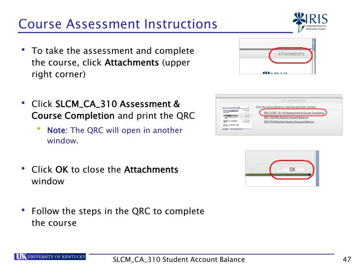 Course Assessment Instructions
