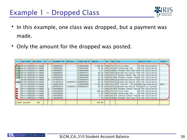 Example 1 – Dropped Class