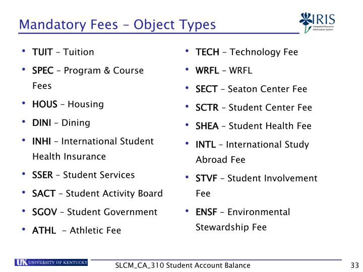 Mandatory Fees – Object Types