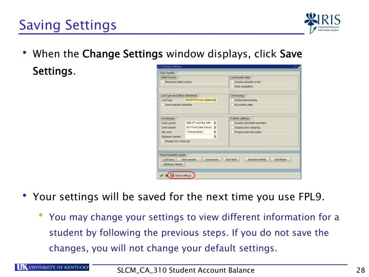 Saving Settings