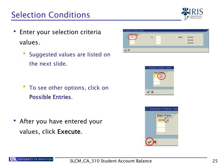 Selection Conditions