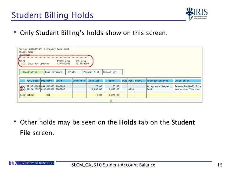 Student Billing Holds