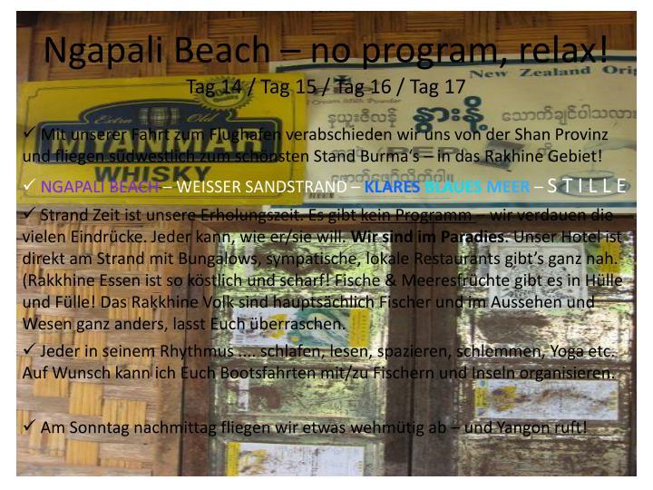Ngapali Beach – no program, relax!