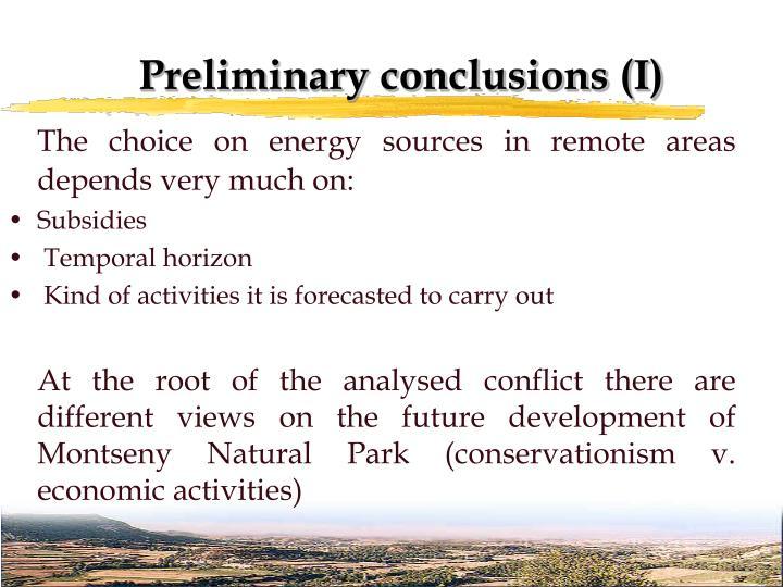 Preliminary conclusions (I)