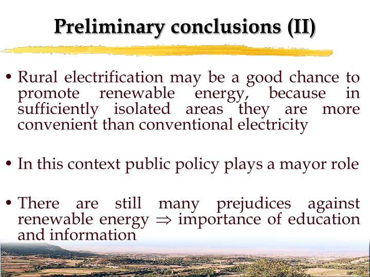 Preliminary conclusions (II)