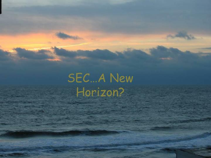 SEC…A New Horizon?