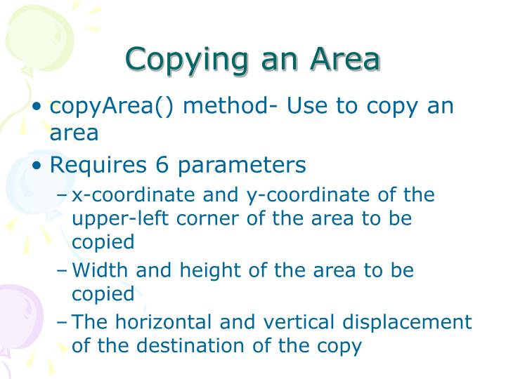 Copying an Area