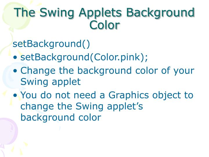 The Swing Applets Background Color