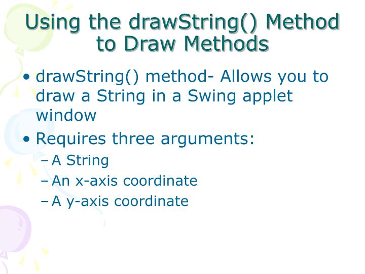 Using the drawString() Method to Draw Methods
