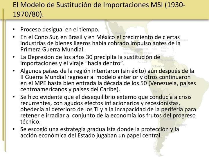 El Modelo de Sustitución de Importaciones MSI (1930-1970/80).