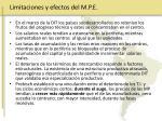 limitaciones y efectos del m p e