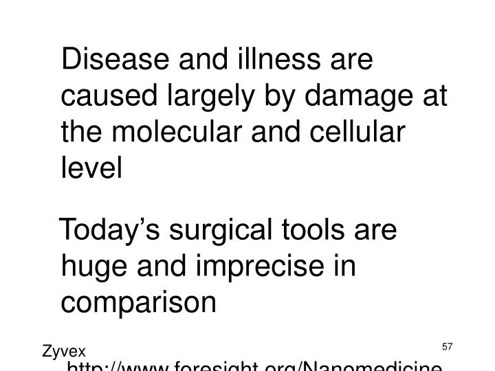 Disease and illness are caused largely by damage at the molecular and cellular level