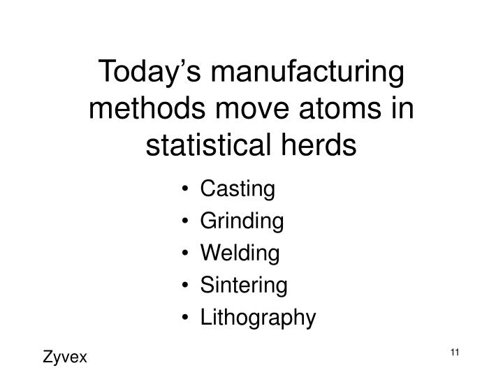 Today's manufacturing methods move atoms in statistical herds