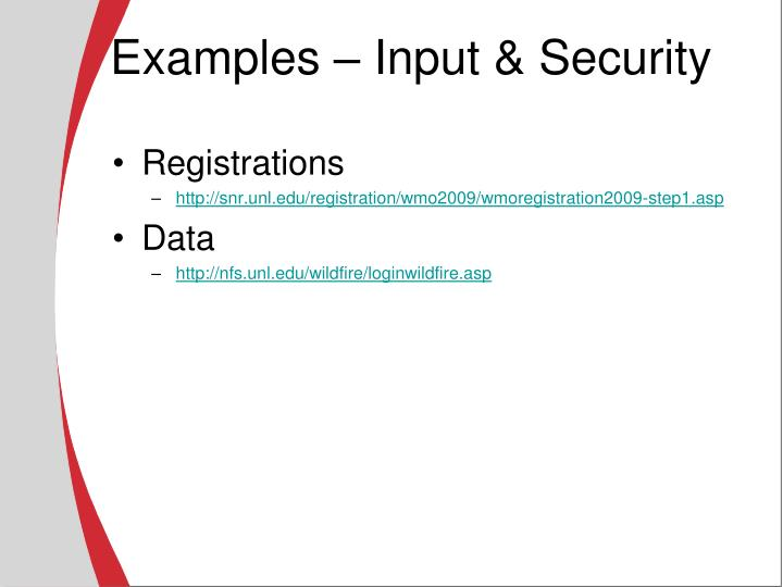 Examples – Input & Security