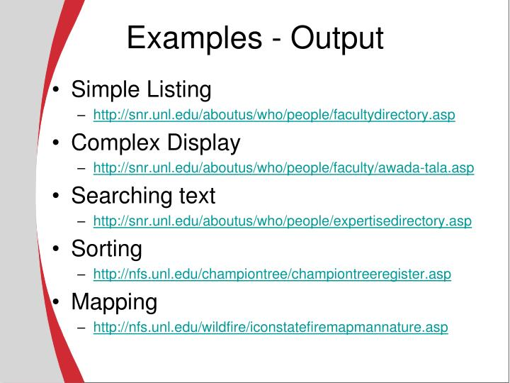 Examples - Output