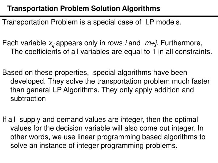 Transportation Problem Solution Algorithms