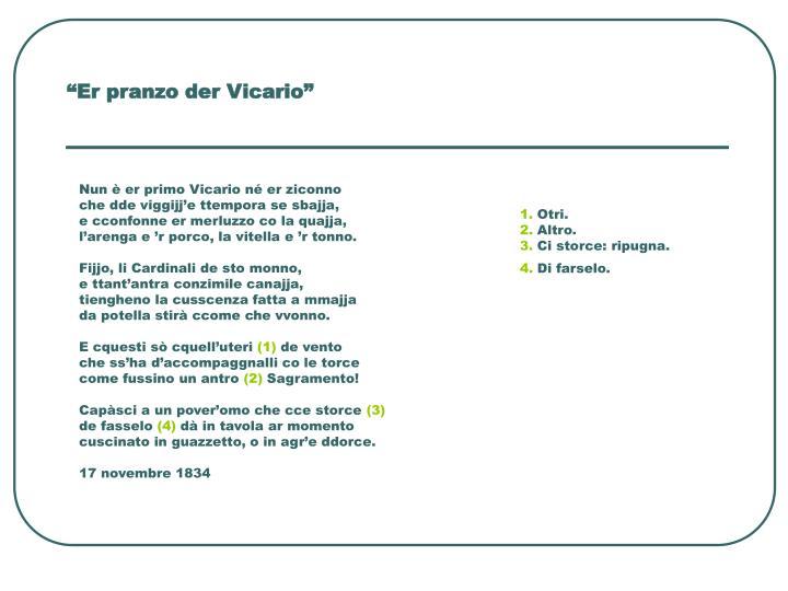 """""""Er pranzo der Vicario"""""""