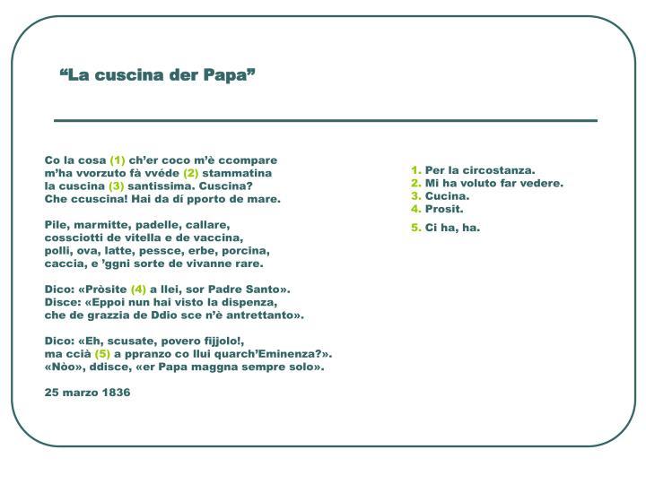 """""""La cuscina der Papa"""""""