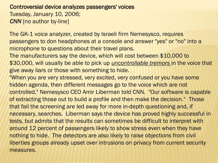 Controversial device analyzes passengers' voices