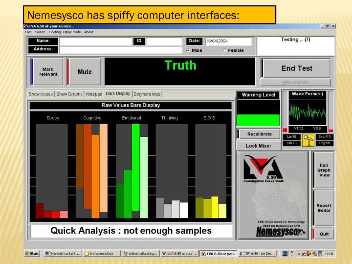Nemesysco has spiffy computer interfaces: