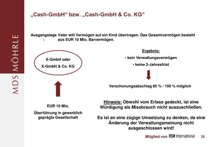 """Cash-GmbH"" bzw. ""Cash-GmbH & Co. KG"""