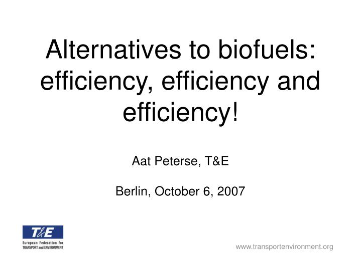 Alternatives to biofuels efficiency efficiency and efficiency
