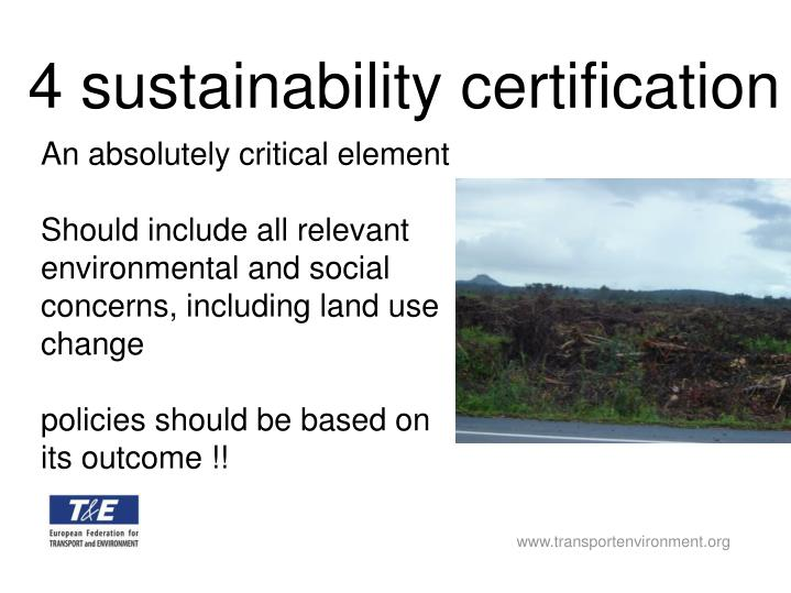 4 sustainability certification