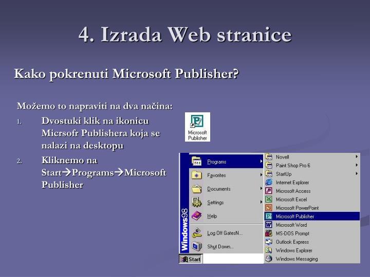 4. Izrada Web stranice
