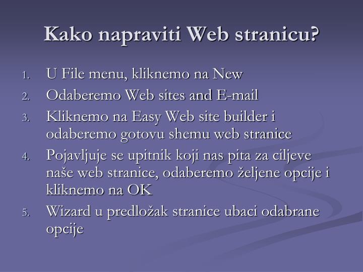 Kako napraviti Web stranicu?