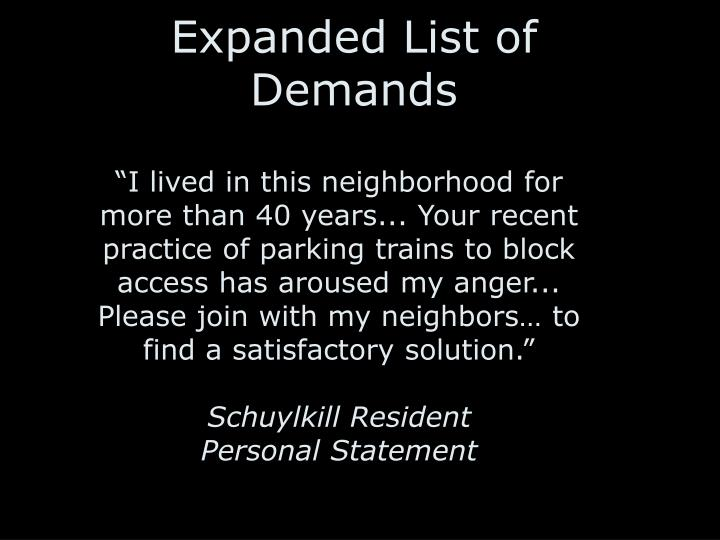 """""""I lived in this neighborhood for more than 40 years... Your recent practice of parking trains to block access has aroused my anger... Please join with my neighbors… to find a satisfactory solution."""""""