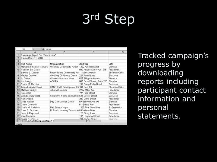 Tracked campaign's progress by downloading reports including participant contact information and personal statements.