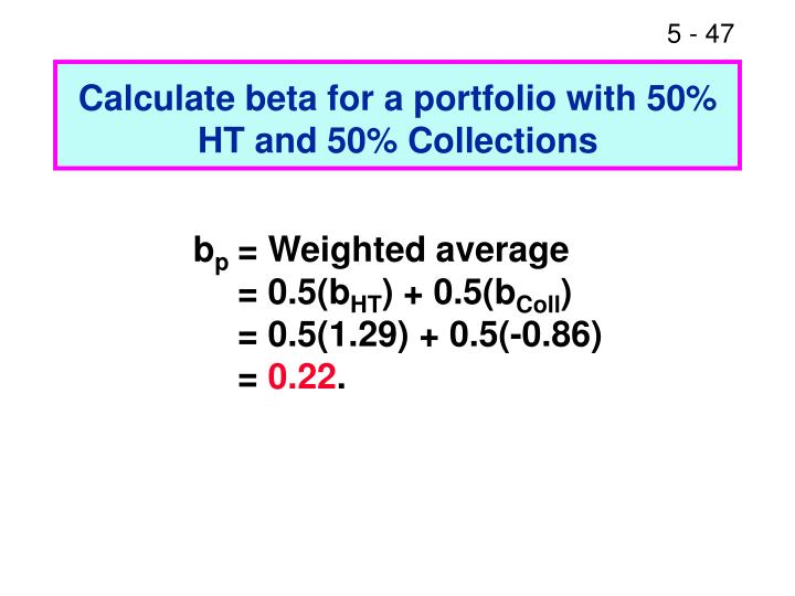 Calculate beta for a portfolio with 50% HT and 50% Collections