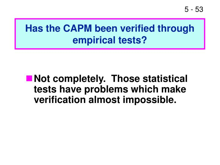 Has the CAPM been verified through empirical tests?