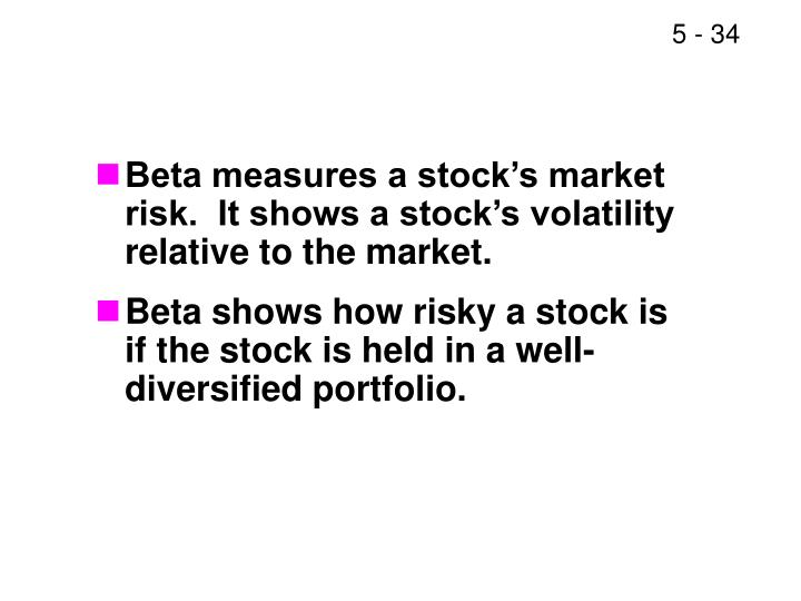Beta measures a stock's market risk.  It shows a stock's volatility relative to the market.