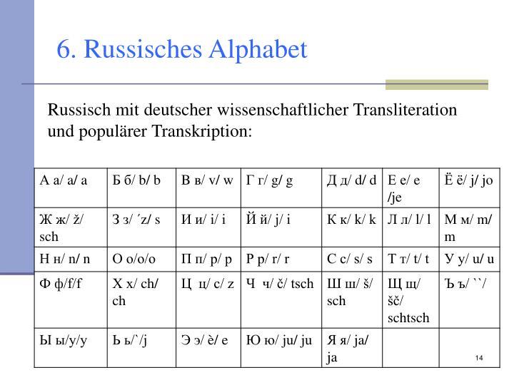 6. Russisches Alphabet