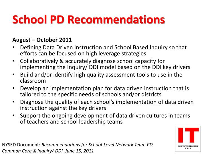 School PD Recommendations