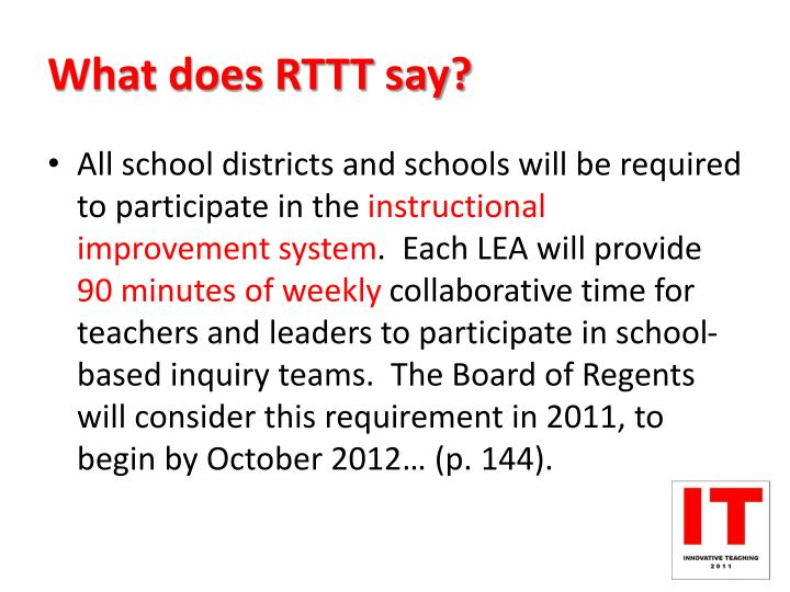 What does RTTT say?